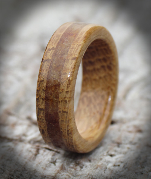 oak amber wooden rings