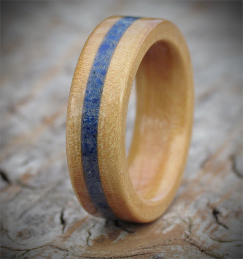 Cherry & Gemstone Wooden Ring