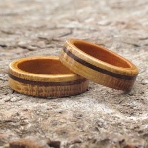 Oak Walnut and Cherry wooden rings perfect gifts for a wooden anniversary & 5th Wedding Anniversary Traditional Gift Of Wood
