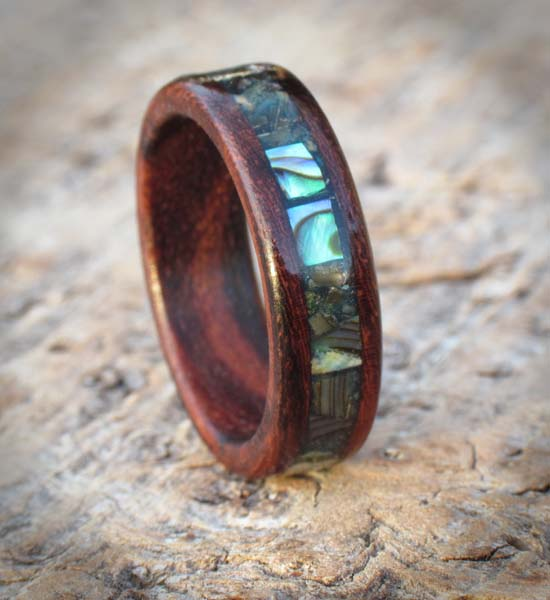 ring e coco custom wooden layered rosewood rings shop indian cocobolo