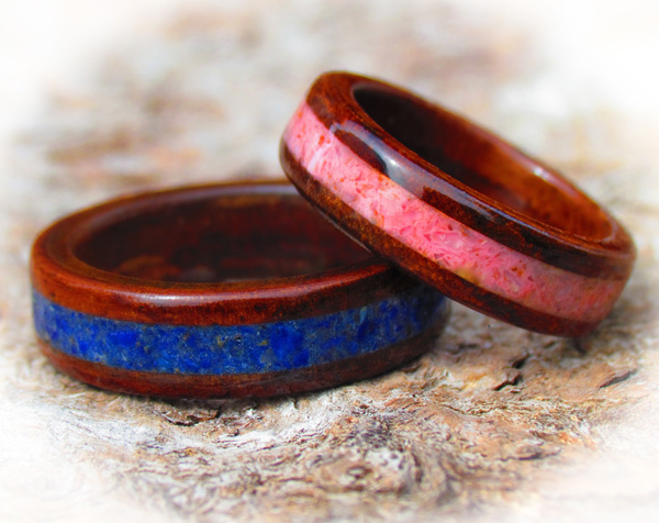 Rosewood And Gemstone Wooden Rings