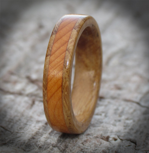 Oak Yew Narrow Band Wooden Wedding Ring