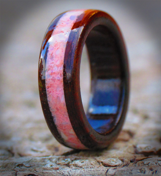 edge timeless rings rosewood inlay tungsten ursa ring image with bevel and