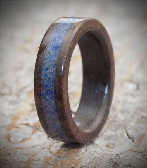 Rosewood & Gemstone Wooden Ring