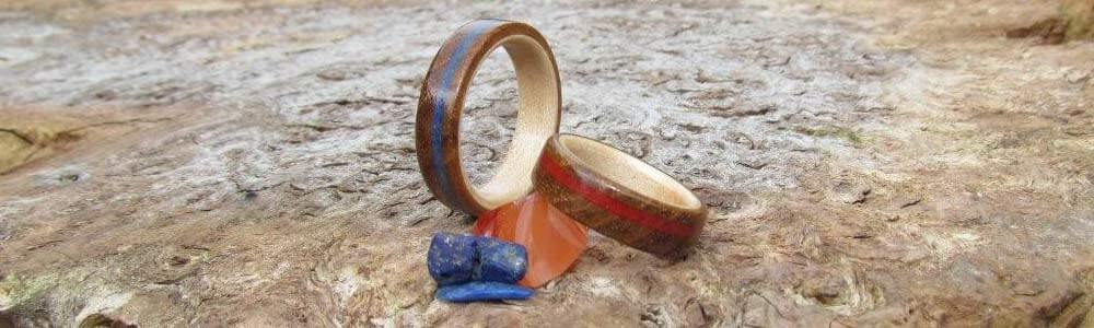 Wooden Rings with Inlaid Stones