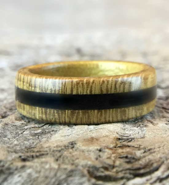 Whitby Jet and Wood Ring