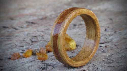 a wooden ring for a Christmas gift made fro oak and amber