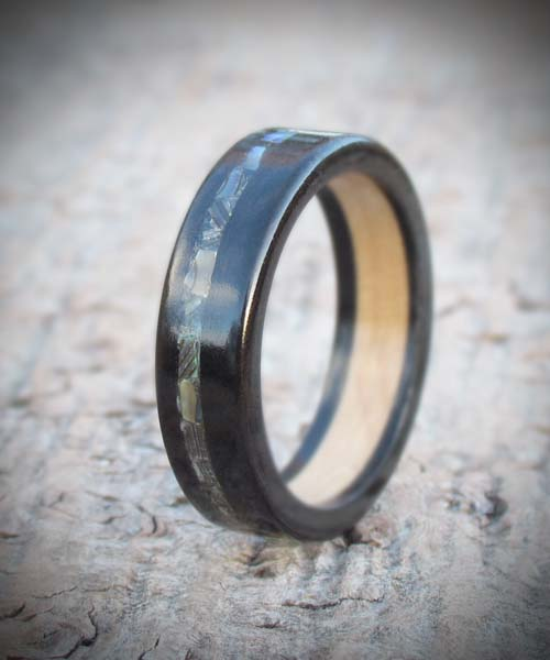 Ebony and maple Wooden Wedding ring