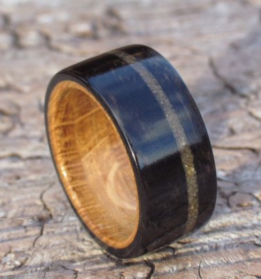Oak, Ebony & Sand Inlay Ring