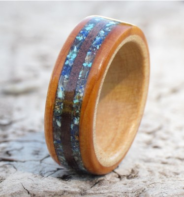Shell, Gemstone & Wood Ring