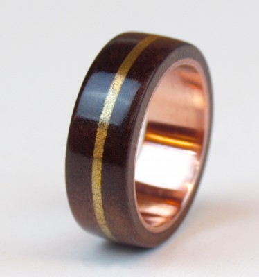 Copper And Bronze Wood Ring UK Size O 1/2