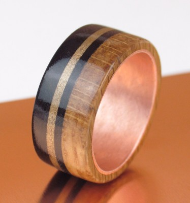 Copper, Bronze, Oak & Rosewood Wide Band UK Size X