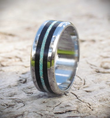 Titanium Ebony & Inlay Ring