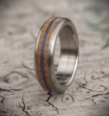 Titanium Whisky Barrel Oak With Inlay Choice 6mm Wide Ring
