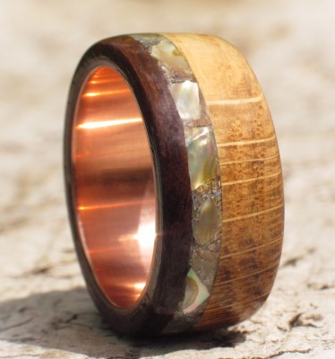 Copper Oak Rosewood And Abalone Shell Ring UK Size U 1/2