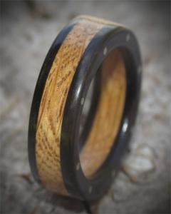 Reclaimed Barrel Oak and Irish Bog Oak wooden ring