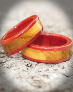 Pink Ivory and Olivewood Wooden Wedding Ring