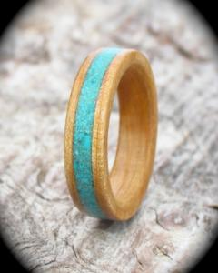 Silver Birch and Gemstone Wooden Ring