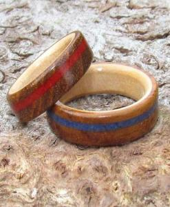 Teak, Maple and Semi-Precious gemstone Ring