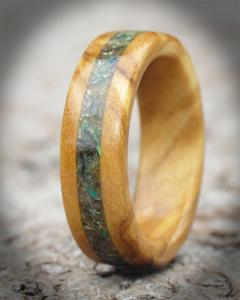 Spanish Olive Wood and Abalone Shell Ring