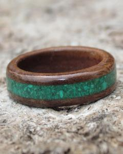 Walnut & Gemstone Wooden Ring