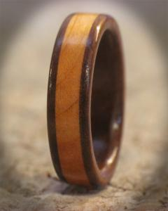 Wild Cherry and Walnut Wooden Ring