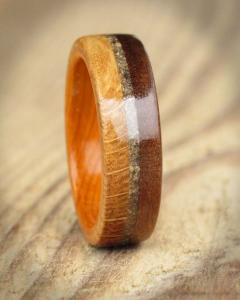 Wooden Ring From Oak Walnut Yew & Sand